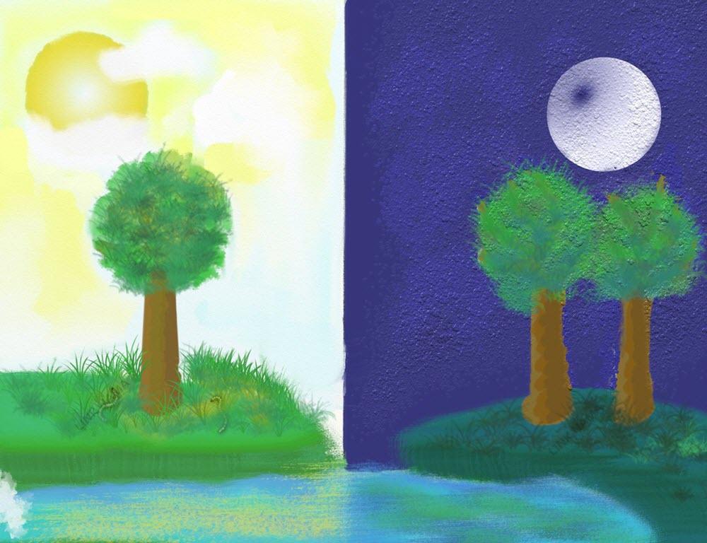 تفوت میان روز و شب به صورت نقاشی