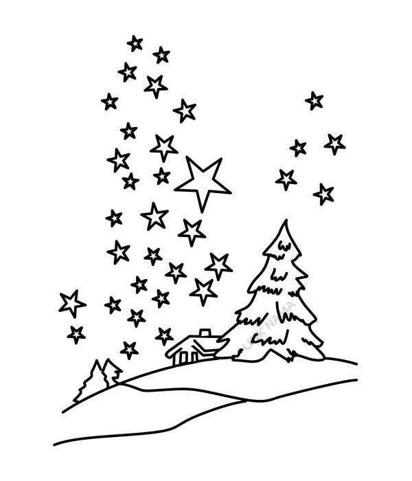Clear-Winter-Night-Sky-with-Million-of-Stars-Coloring-Page