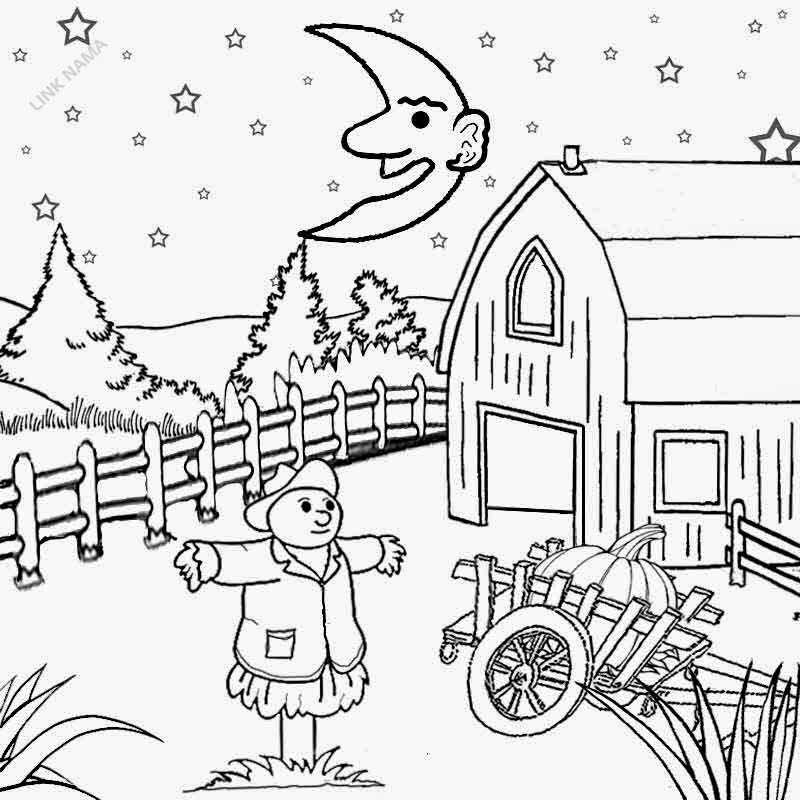 Sparkling star background farm cartoon illustration harvest moon night sky coloring page to print