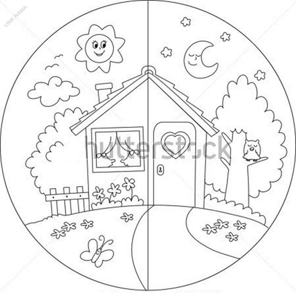 stock-vector-night-and-day-view-of-a-cartoon-country-house-coloring-vector-for-children-101558491